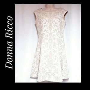 Donna Ricco Dresses - Donna Ricco Ivory Flocked Fit and Flare Dress Sz 6